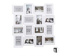 Relaxdays Marco múltiple para 16 Fotos, 9 x13, Formato Vertical y Horizontal, Plástico, Blanco, 70 x 70 cm, 57 x 86 cm