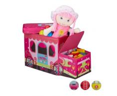 Relaxdays Baúl para juguetes, Taburete infantil plegable, Caja con compartimento, Para niños y niños, Forma de autobús, 50 L, Unicornio
