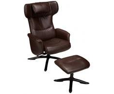 AmazonBasics - Juego de sillón reclinable clásico y otomana de piel sintética, color marrón