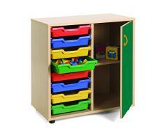Mobeduc Mueble Infantil Bajo cubetero Armario 700, Haya, Haya y Verde Oscuro, 90x40x76.5 cm