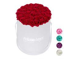 Relaxdays Rosas Artificiales en Caja Blanca Redonda, 34 Unidades, Ramo Decorativo, Flower Box, Cartón-Tela-PP, Rojo