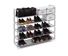 Relaxdays - Zapatero Compuesto de estructuras de Acero, Tela y Conectores de plástico con Medidas 90.5 x 87 x 29.5 cm 5 Pisos hasta 25 Pares de Zapatos, Color Gris