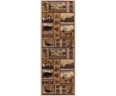 Universal Rugs Scenic Wildlife Lodge Runner Accent Alfombra, Multicolor, 221 x 79 cm