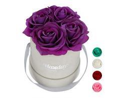 Relaxdays Rosas Artificiales en Caja Gris Redonda, 4 Unidades, Ramo Decorativo, Flower Box, Cartón-Tela-PP, Morado