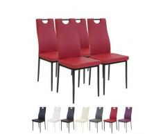 Albatros 2911 Salerno Set de 4 sillas de Comedor, Rojo