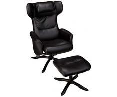 AmazonBasics - Juego de sillón reclinable clásico y otomana de piel sintética, color negro