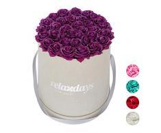 Relaxdays Rosas Artificiales en Caja Gris Redonda, 34 Unidades, Ramo Decorativo, Flower Box, Cartón-Tela-PP, Morado