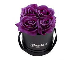 Relaxdays Rosas Artificiales en Caja Negra Redonda, 4 Unidades, Ramo Decorativo, Flower Box, Cartón-Tela-PP, Morado