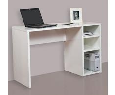 HOGAR24 ES Mesa Escritorio Estudio con 3 Estantes, Blanco, 120X75X50