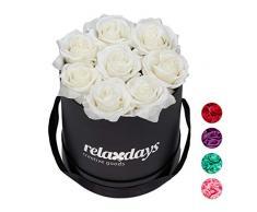 Relaxdays Rosas Artificiales, Caja de Flores Negra, 8 Unidades, Ramo Decorativo, Flower Box, Cartón-Tela-PP, Blanco
