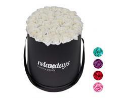 Relaxdays Rosas Artificiales en Caja Negra Redonda, 34 Unidades, Ramo Decorativo, Flower Box, Cartón-Tela-PP, Blanco