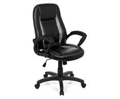 hjh OFFICE 621866 Silla de oficina / sillón de oficina VINTAGE piel sintética gris