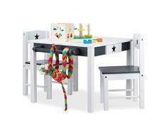Relaxdays 10022744 Mobiliario Infantil Star, Mesa y sillas de Madera, Zona de Actividades, Unisex, Estrella, Blanco y Gris, DM, 48 x 68 x 60 cm