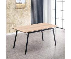 Mc Haus GASHIRA - Mesa Rectangular Comedor de madera Natural con estructura de Metal Negro mate, Mesa Cocina Salón Diseño Moderno 160x80x75cm