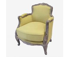 Better & Best 0564803 Butaca francesa tapizada yute de madera y algodón, color: mostaza