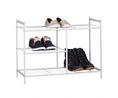 Relaxdays Zapatero Metálico Sandra, 3 Estantes, Organizador Zapatos, 8 Pares, Acero, 50,5 x 70 x 26 cm, Blanco