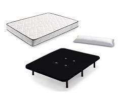 HOGAR24 ES Cama Completa - Colchón Flexitex + Base Tapizada 3D Color Negro + 6 Patas de 26cm + Almohada de Fibra, 135x190 cm