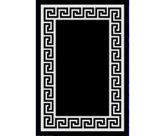 Flora Carpets Modern Cenefa/superverso Alfombra de Corredor, Material sintético, Negro/Blanco, 300 x 80 x 1.2 cm