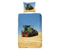 Goodmorning 4208-P - Funda de edredón para niños, diseño de Tractor (100% algodón, 140 x 200/220 cm), Colores Varios