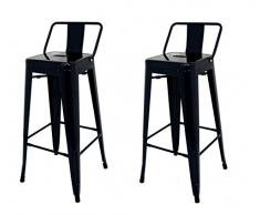 La Silla Española - Pack 2 Taburetes estilo Tolix con respaldo. Color Negro. Medidas 95x44,5x44,5