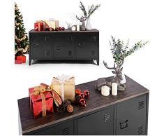 Mueble de Almacenamiento para Escritorio Cabinete, Metal, Negro, 120 x 40 x 60 cm