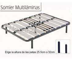 HOGAR 24 Somier Multiláminas con Reguladores Lumbares + Juego De 5 Patas De 25.5cm, 135x200cm
