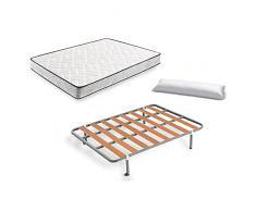 HOGAR 24 Colchón Visco-Aloe + Somier Basic + Almohada De Fibra, 135x190 cm