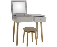 DRW Mesa de tocador con 1 Cajon y Espejo y Taburete en Blanco y Patas en Natural 80x40x75cm, Banco 30x30x45cm