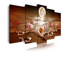 DekoArte - Cuadros Modernos Impresión de Imagen Artística Digitalizada  Lienzo Decorativo Para Tu Salón o Dormitorio  Estilo Piasaje noche Luna Iluminando Playa Flores Rojas  5 Piezas 200 x 100 cm XXL