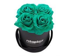 Relaxdays Rosas Artificiales en Caja Negra Redonda, 4 Unidades, Ramo Decorativo, Flower Box, Cartón-Tela-PP, Turquesa