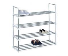 Relaxdays Estante, 93 x 90 x 31 cm, Hecho de Metal con Recubrimiento de Polvo, 4, cómoda para Zapatos, se Puede Poner mas Niveles, Plateado, plástico