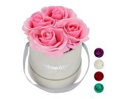 Relaxdays Rosas Artificiales en Caja Gris Redonda, 4 Unidades, Ramo Decorativo, Flower Box, Cartón-Tela-PP, Rosa