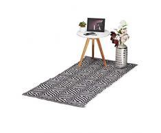 Relaxdays Alfombra Pasillo con Estampado Zigzag, Antideslizante, Algodón, Negro y Blanco, 1 x 70 x 140 cm