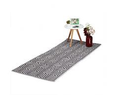 Relaxdays Alfombra Pasillo con Estampado Zigzag, Antideslizante, Algodón, Negro y Blanco, 1 x 80 x 200 cm