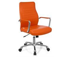 hjh OFFICE 720010 silla de oficina TEWA piel sintética naranja, respaldo ergonómico, inclinable, muy cómodo, con apoyabrazos, alta calidad, estable, fácil de limpiar, elegante, silla giratoria, silla escritorio