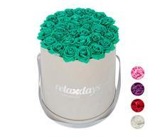 Relaxdays Rosas Artificiales en Caja Gris Redonda, 34 Unidades, Ramo Decorativo, Flower Box, Cartón-Tela-PP, Turquesa