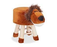 Relaxdays Taburete Infantil Animal Forma de León con Funda Extraíble, 34,5 X 28 cm