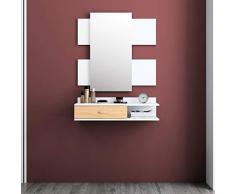 Mc Haus VÄLKO Recibidor con Espejo de diseño nordico, Madera, Blanco, 75 x 116 x 29 cm