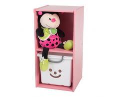 Iris Ohyama KCX-2 Gabinete de Almacenamiento estantes-Kids Shelf KCX-2-Rosa, 35.1 x 34.6 x 68.6 cm, Madera, Rosa, 2 Compartimento
