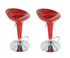 La Silla Española - Pack de Dos Taburetes Estilo Rex en PVC Color Rojo, Regulable en Altura 44x40x87 cm, 2 Unidades