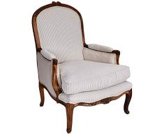 Better & Best 056070 Butaca francesa tapizada grande de madera y algodón, color: rayas beige