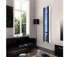 Theta design by homemania Armario, Armario Tallinn, Cuerpo Color Blanco Mate, Frontal Color Negro Brillante PVC