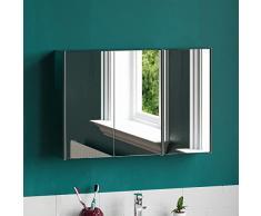 Home Discount Tiano - Armario de baño, Triple Espejo, Acero Inoxidable, montado en la Pared, Moderno