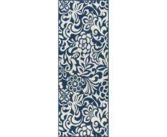 Universal Rugs Tahari Floral Camino de transición Accent Alfombra, Azul Marino, 221 x 79 cm