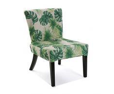 Versa 21351134 Silla acolchada tapizada Leaves, 73x64x50 cm, Verde, Sillón