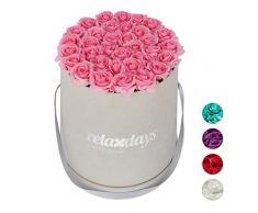 Relaxdays Rosas Artificiales en Caja Gris Redonda, 34 Unidades, Ramo Decorativo, Flower Box, Cartón-Tela-PP, Rosa