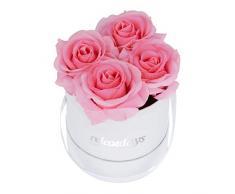 Relaxdays Rosas Artificiales en Caja Blanca Redonda, 4 Unidades, Ramo Decorativo, Flower Box, Cartón-Tela-PP, Rosa