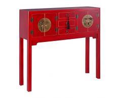 DONREGALOWEB Recibidor - Consola de Entrada de Madera en Color Rojo con herrajes metálicos Dorados con 4 Puertas y 3 cajones de Estilo Oriental