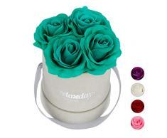 Relaxdays Rosas Artificiales en Caja Gris Redonda, 4 Unidades, Ramo Decorativo, Flower Box, Cartón-Tela-PP, Turquesa