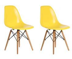 Aryana Home Eames Réplica Set de sillas, Haya, Amarillo, 51x46.5x81.5 cm, 2 Unidades